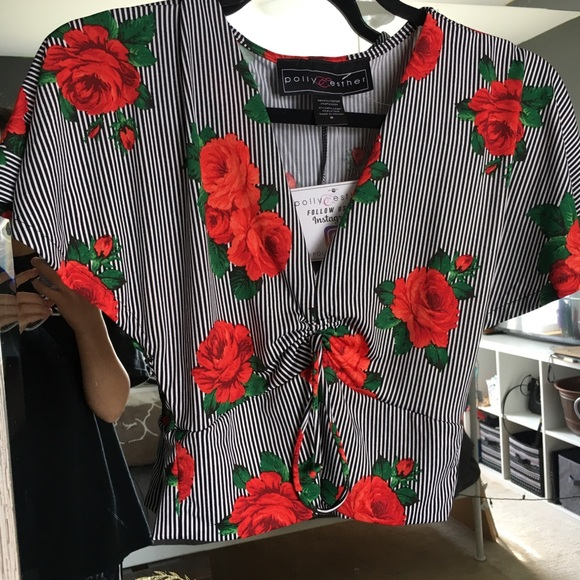 3173a57b3f BRAND NEW WITH TAGS Striped Crop Top With Roses